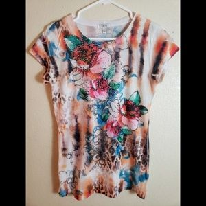 CACHE Large Floral Beaded Boho Top Blouse